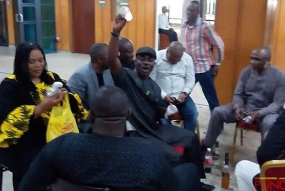 Honorable Boma Goodhead and other Nigerian lawmakers celebrate victory against DSS with alcohol (Photo)