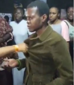 Man disguised as a woman to peep at naked UNIBEN girls caught and paraded (video)