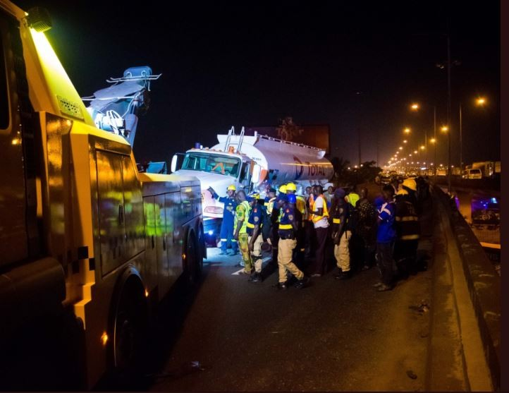 Photos from the rescue operation at Surulere where a?fully loaded 36,000 Litre PMS tanker collided with a?SUV