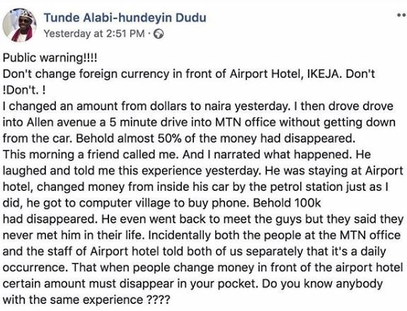 Veteran broadcaster, Tunde Alabi cries out after he changed some foreign currency in Ikeja but money disappeared when he got to his destination