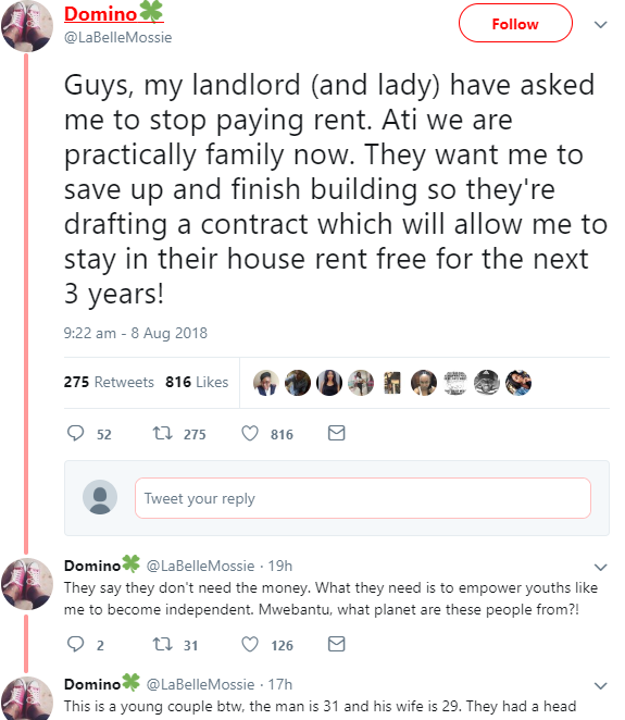 Twitter users react after landlord and his landlady ask tenant to stay in their house rent free for the next 3 years as a form of youth empowerment (screenshots)