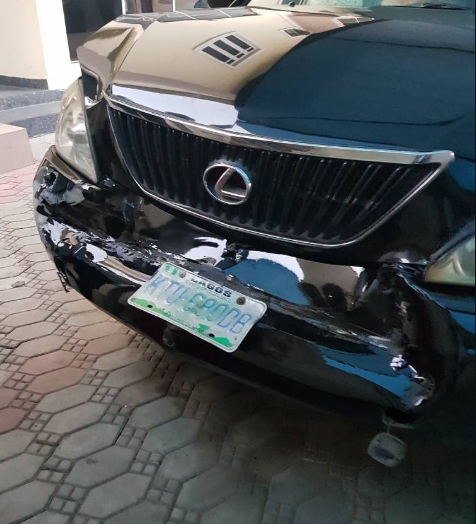 Ghanaian actress robbed in Festac shares photos of her damaged car (photos/video)