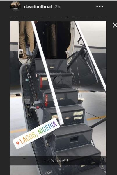 Finally, Davido celebrates as his private jet arrives in Lagos