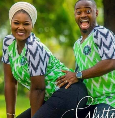 746d60ab0ae Nigerian couple rock Super Eagles jersey in their beautiful pre-wedding  photos