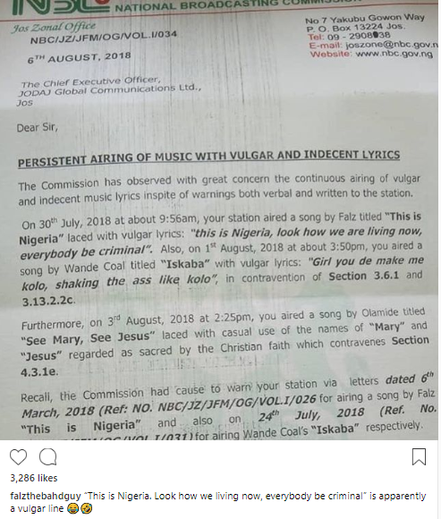 "Falz reacts after NBC fined a radio station for playing his song ""This is Nigeria"""