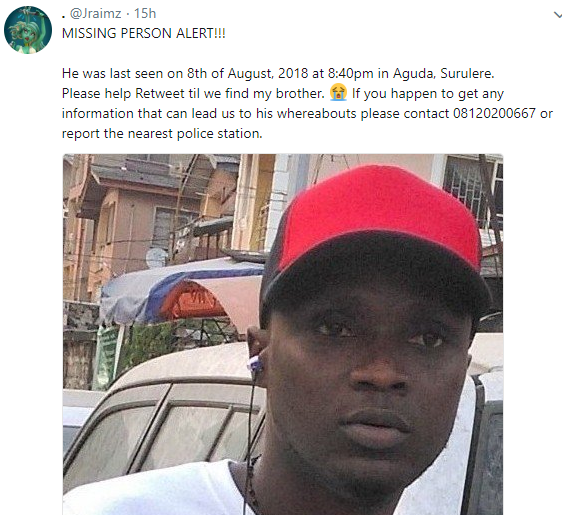 Photo: Lady cries out for help after her brother who left behind a suicide note,  goes missing
