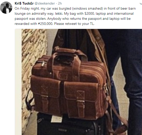 Photos: Nigerian man offers N250k to anyone who can help recover his bag stolen in Lagos
