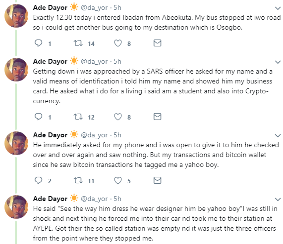 Twitter stories: SARS officers allegedly tag student Yahoo boy, extort 17k from him