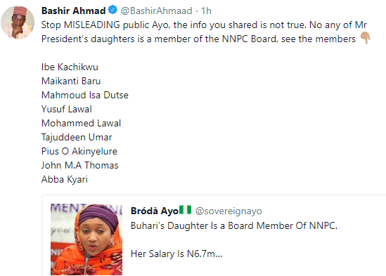 "BREAKING !!!:  ""None of president Buhari's daughter is a member of the NNPC board"" presidential aide, Bashir Ahmad, reacts to misleading tweet"