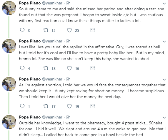 Twitter stories: Nigerian man narrates how his girlfriend tried extorting him using a fake pregnancy