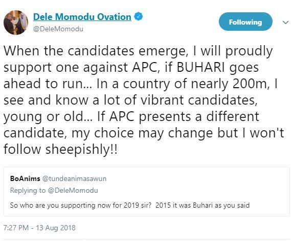 BREAKING !!!:  'When the candidates emerge, I will proudly support one against APC, but If APC presents a different candidate, my choice may change' – Dele Momodu