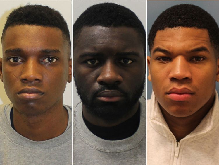 Photos of three men convicted for killing a Nigerian model, Harry Uzoka in London