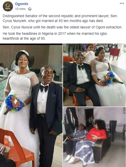 88-year-old former senator, Cyrus Nunyieh dies months after marrying a much younger bride