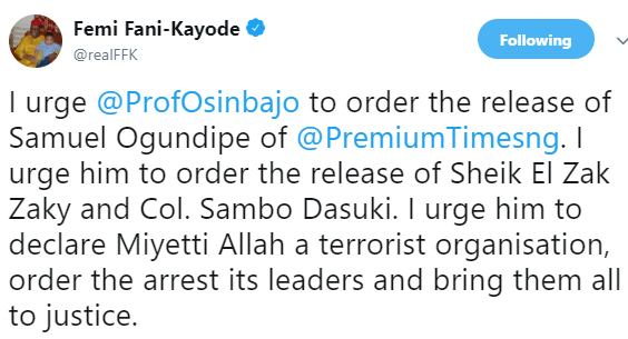 """Declare Miyetti Allah a terrorist organization"" - FFK tells Osinbajo"