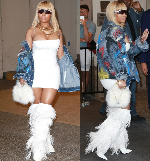 Nicki Minaj flaunts her ample bust as she steps out in white body-hugging dress and wild fringed boots (Photos)