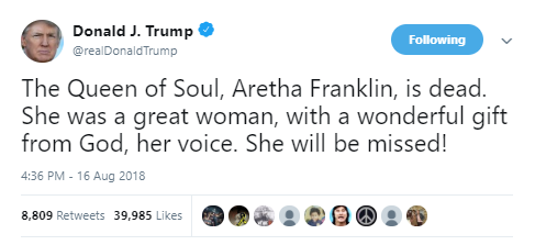 Donald Trump mourns late American