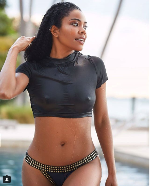 Gabrielle Union-Wade flashes her nipples in wet crop top?(Photo)