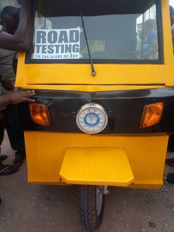 Photos of electric tricycle reportedly made in Aba