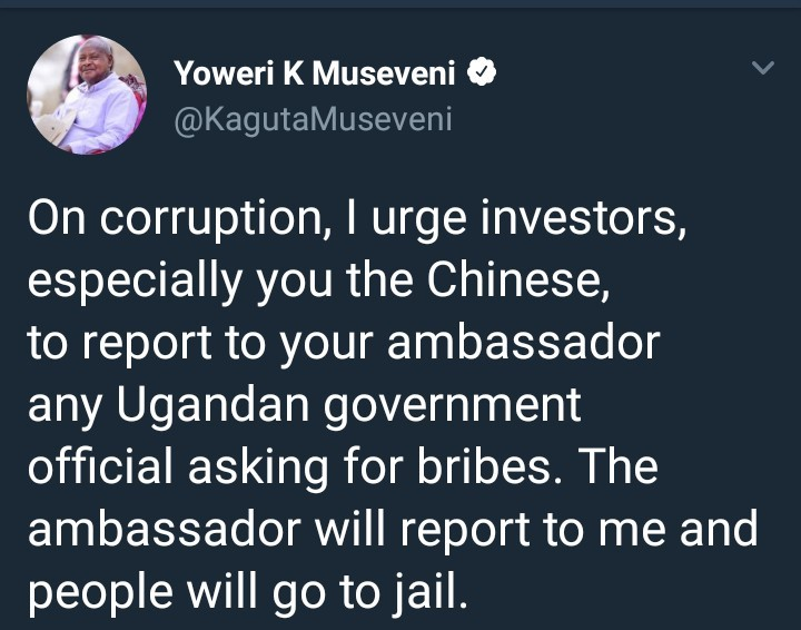Ugandan President pledges to jail any official demanding bribes from foreign investor