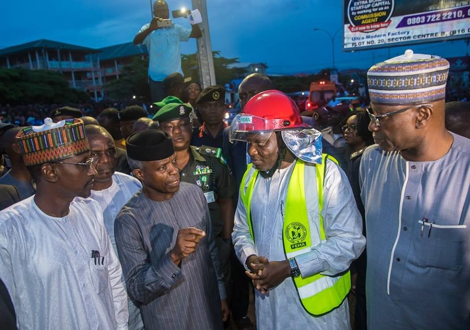Photos: Osinbajo visits site of collapsed building in Abuja