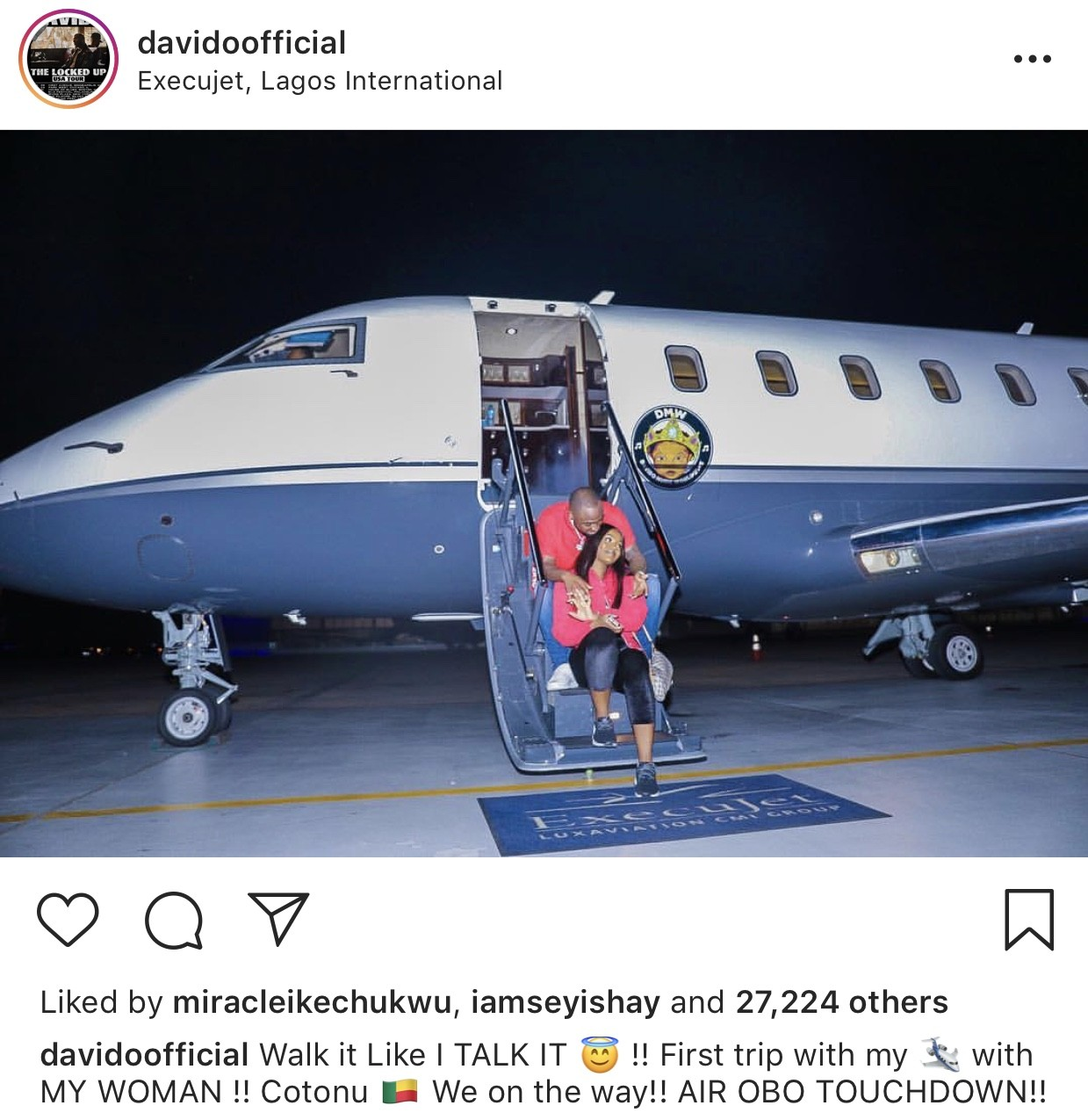 Davido & his boo Chioma pose on the airstairs of his new private jet (photo)