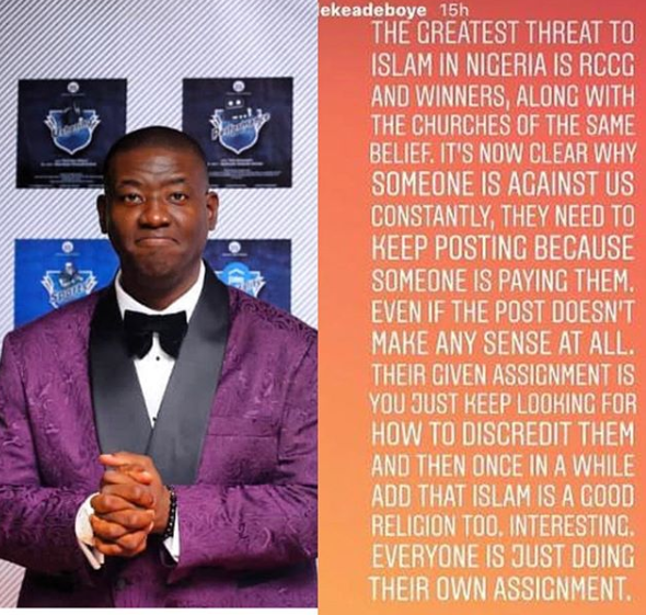 SHOCKING !!!: DaddyFreeze drags Pastor Adeboye's son, Leke, for saying the greatest threat to Islam in Nigeria is RCCG, Winners and other churches