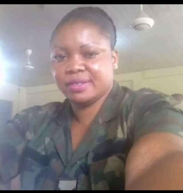 Photos: Nigerian female soldier brutalises her underaged househelp for not washing dishes on time