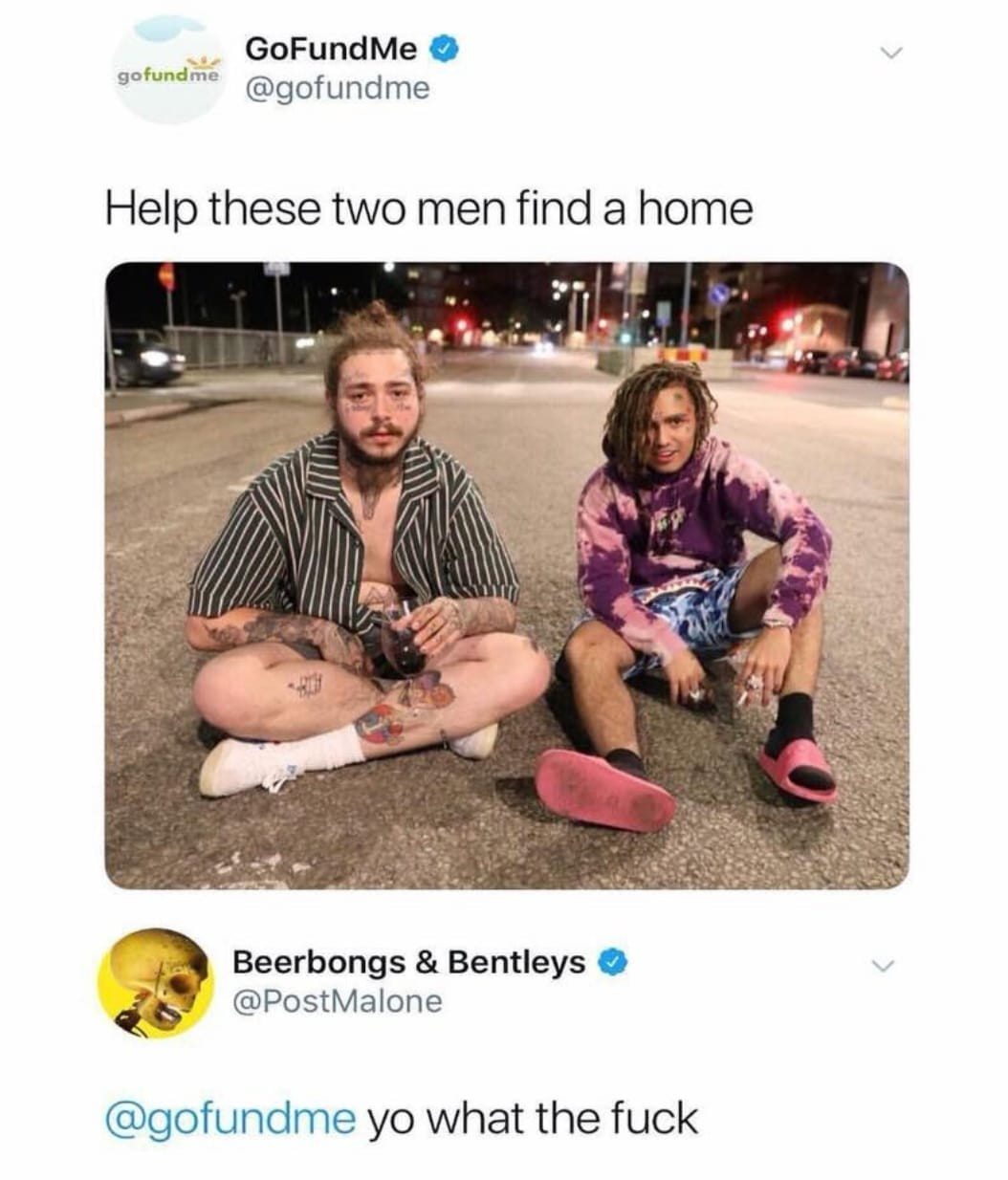 GoFundMe shades the heck out of rapper Post Malone after he shared a pic of himself looking like a homeless person