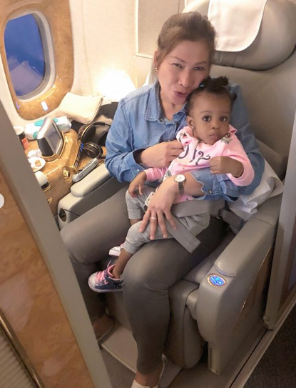Actress Mimi Orjiekwe Her Daughter And Nanny Fly First Class As They Vacation In Seychelles And