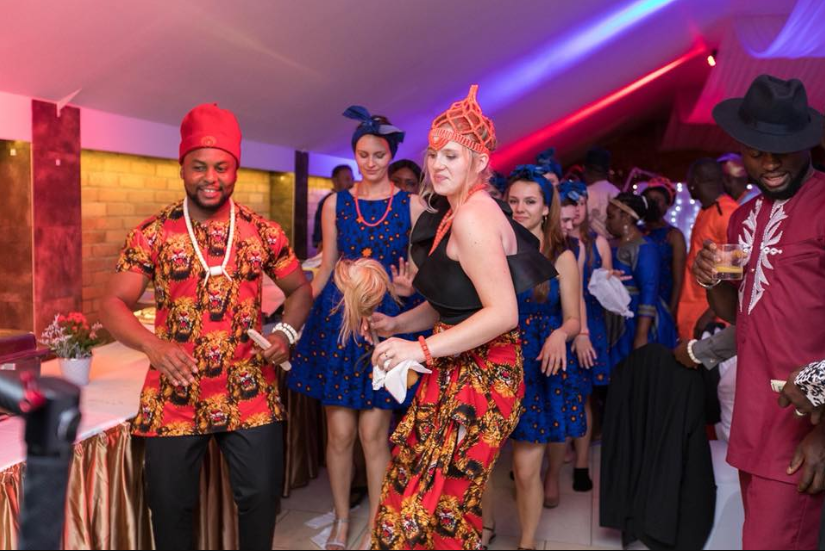White woman and her white bridesmaids rock African print as she marries her Nigerian husband