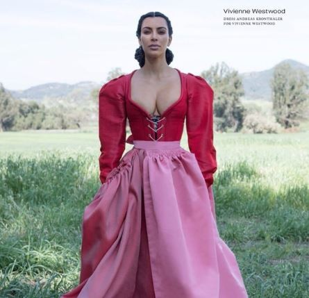 Kim Kardashian poses in plunging gown for CR fashion book (Photos)