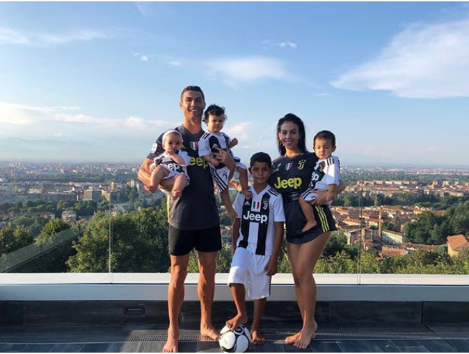 Cristiano Ronaldo, Wife & Children Rocks Juventus jerseys