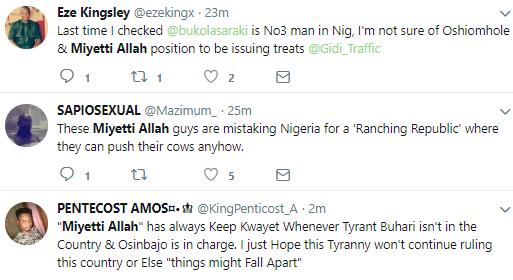 Nigerians on Twitter react to Miyetti Allah