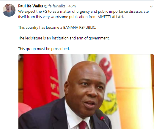 SHOCKING !!!:  Nigerians on Twitter react to Miyetti Allah's threat to force Senate President Bukola Saraki out of office if he fails to resign