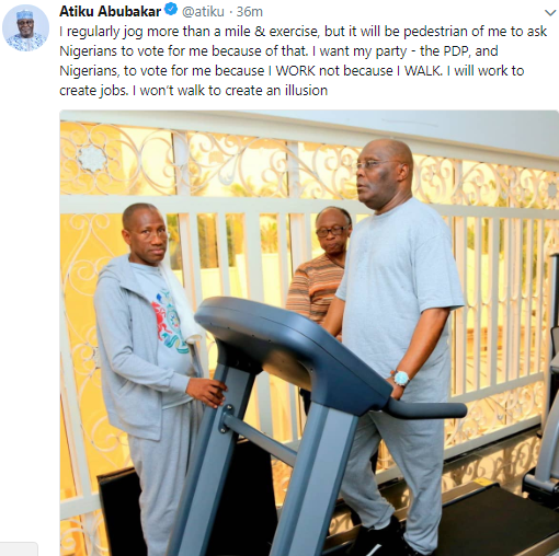 BREAKING !!!: Atiku Abubakar shades President Buhari as he shares photo of himself using his thread mill