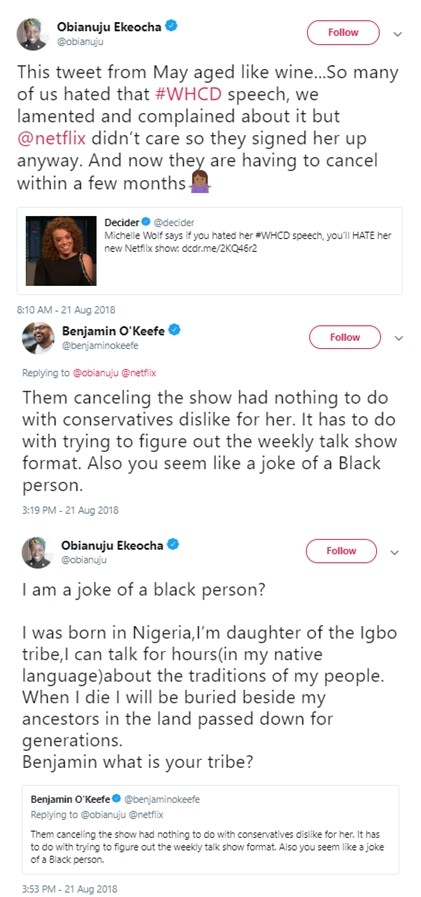 Nigerian born writer Obianuju Ekeocha smacks down Black American man who called her a joke of a black person