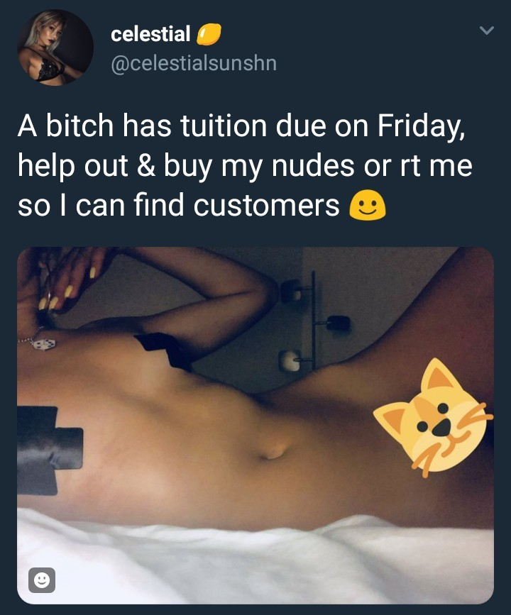 This lady is selling her nudes to raise tuition fee (photos)