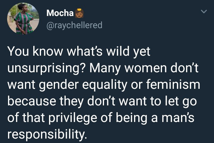 SHOCKING !!!:  Nigerian lady says some women reject feminism because they enjoy the privilege of being a man's responsibility