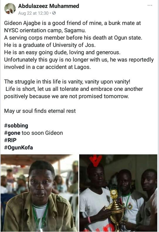 Corps member dies in Lagos auto crash on Sallah day