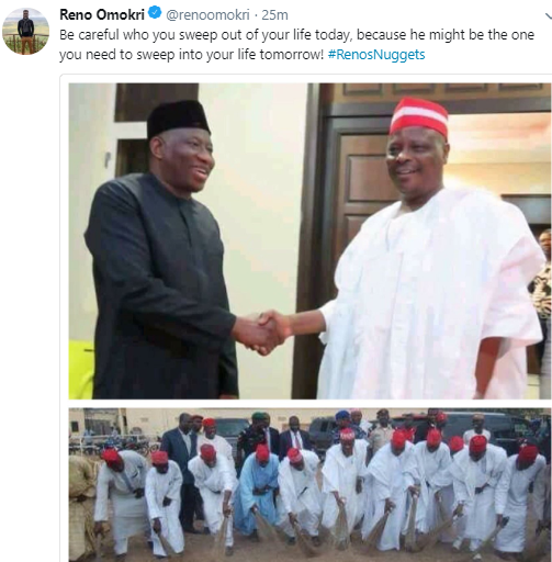 See the epic shade Reno Omokri threw at ex-governor Rabiu Kwankwaso following his recent visit to ex-president Goodluck Jonathan