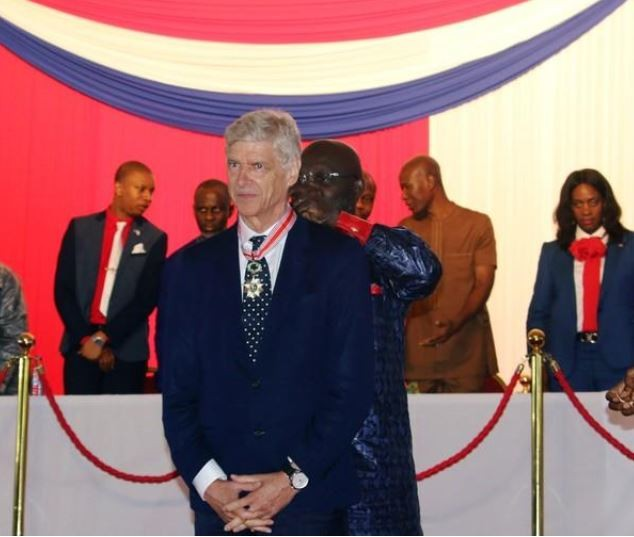 Former Arsenal manager, Arsene Wenger receives Liberia