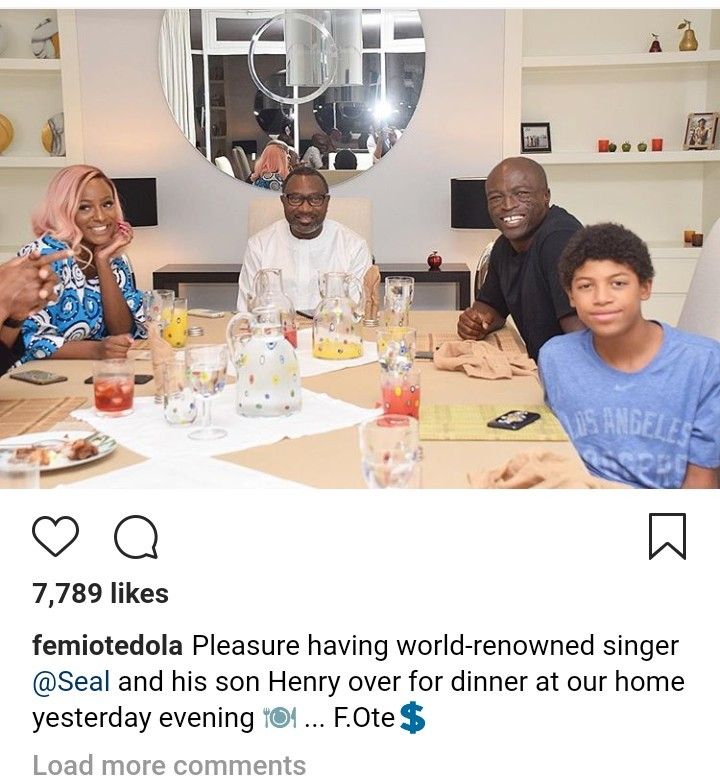 Singer Seal and his son enjoy dinner with Femi Otedola and his family