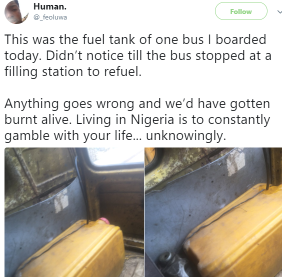See what a commercial bus in Lagos uses as its fuel tank (photos)