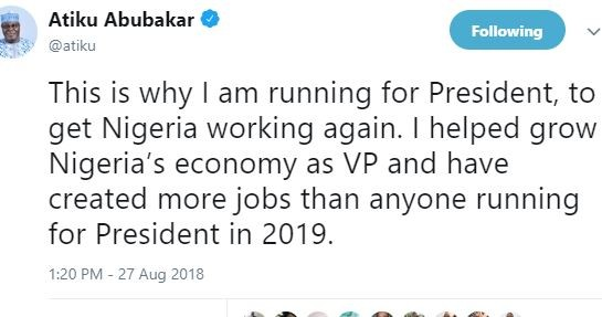 BREAKING !!!: 'I helped grow Nigeria's economy as VP and have created more jobs than anyone running for President in 2019' – Atiku