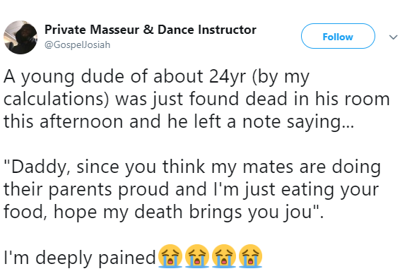 Twitter Stories: 24-year-old Nigerian man commits suicide after leaving a heartbreaking suicide note