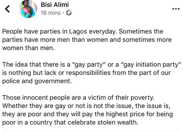Bisi Alimi reacts to arrest of 57 suspected homosexuals in Lagos