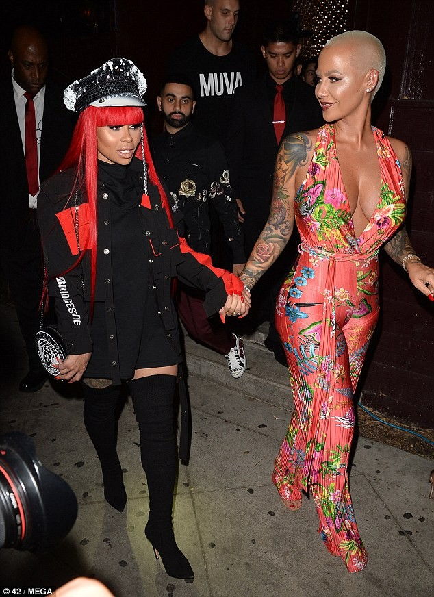Blac Chyna steps out with her new boo as they join Amber Rose on glamorous night in Hollywood (Photos)