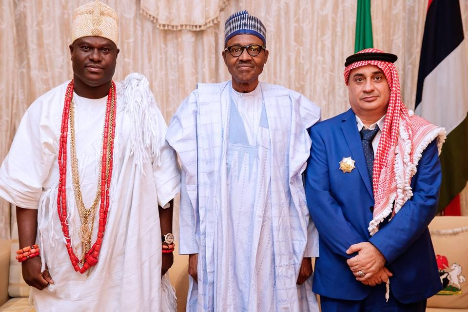 President Buhari receives Ooni of Ife and billionaire Arab businessman, Zuhir Al- Natour?in Aso Rock (Photos)