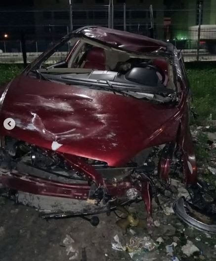 Nigerian singer, Djinee hospitalized after surviving ghastly car crash in Lekki