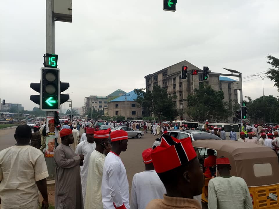 Kwankwaso moves his presidential declaration to a hotel after FG denied him access to Eagles Square (Photos)